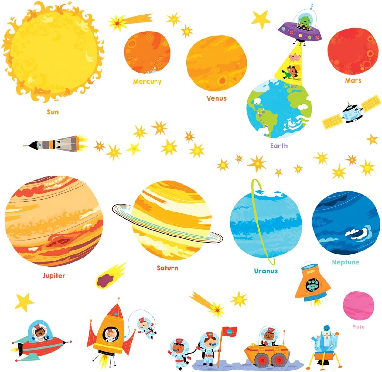 DECOWALL DW-1707N Planets and Space Kids Wall Stickers Wall Decals Peel and Stick Removable Wall Stickers for Kids Nursery Bedroom Living Room décor