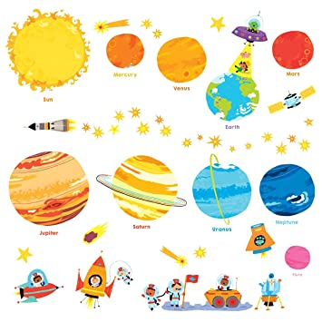 Chambre Enfants Autocollants Decowall 1707n Planètes Stickers Mural Garderie Salonver Dw Espace Bébé Anglais Univers Muraux USMVzp