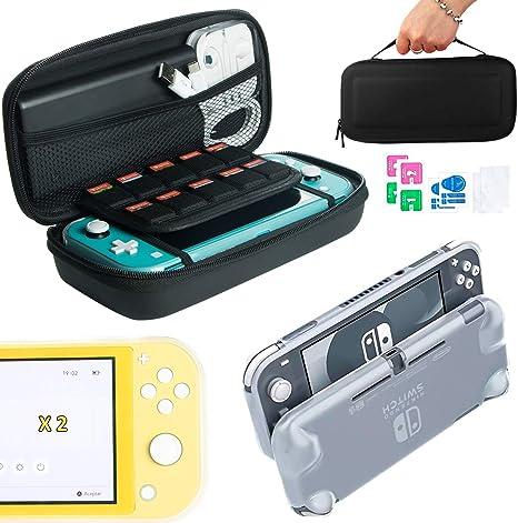 Pack de Accesorios Nintendo Switch Lite: Estuche de Transporte para Consola y 10 Juegos, Funda de Silicona Transparente con Grip y Protector de Pantalla de Cristal Templado (kit 2 vidrios): Amazon.es: Videojuegos