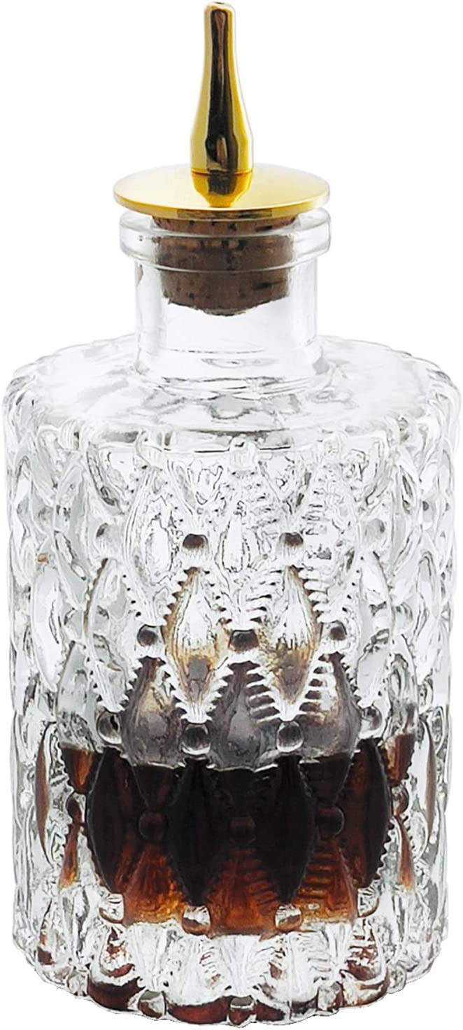 Bitters Bottle - Jewel Bitter Bottle For Cocktail, 6oz / 175ml, Glass Dahs Bottle With Stainless Steel Dasher Top - DSBT0011 (6oz/175ml) (Jewel 6oz/175ml)
