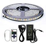 Auralum 5 Metri SMD 5630 IP65 Bianco Caldo Strisce LED Flessibile + Telecomando + Alimentatore di rete (300 LED 12V 72W 10000LM)