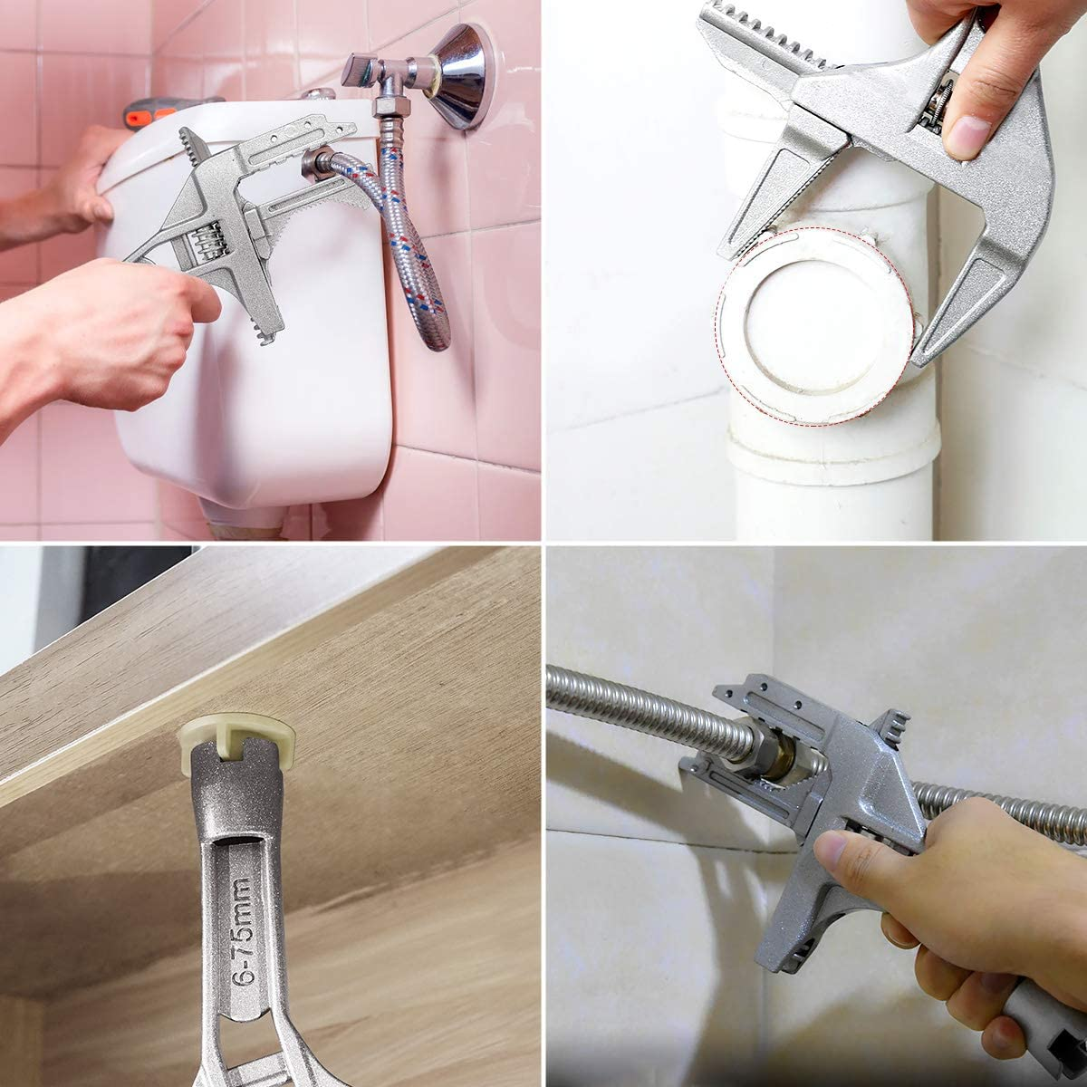 Aluminum Alloy Repair Tools for Bathroom Washbasin Tube Nut Disassembly Jhua 6-75mm Spanner Wrench Adjustable Spanner Wrenchs Short Shank Large Opening Wrench with 2 Spare Blades Adjustable Wrench