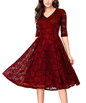 29f5881a3e811 Noctflos Women's 3/4 Sleeves Lace Fit & Flare Midi Cocktail Dress ...
