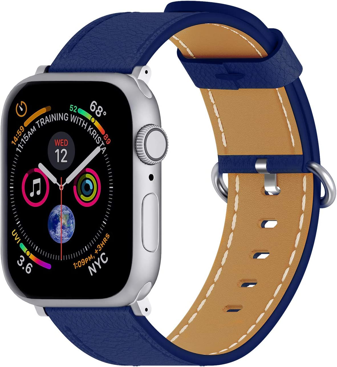 ARTCHE Compatible with iWatch Band 40mm 38mm, Soft Cowhide Leather Replacement Bands Watch Strap for Apple Watch Series SE 6 5 4 3 2 1, for Men and Women, Deep Blue