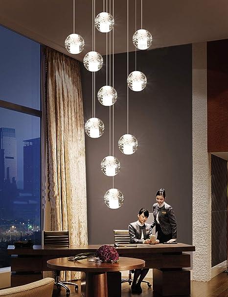 BDS lighting Lámpara LED de 10 Bolas de Escalera dúplex, lámpara Colgante Moderna de múltiples Bolas de Vidrio, lámpara Creativa de Restaurante, Estilo nórdico, lámparas Colgantes de 40x120 cm: Amazon.es: Hogar