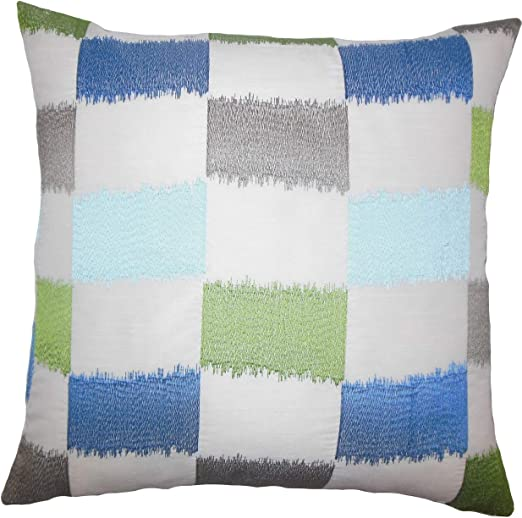 Bold Blue Green /& White Plaid Reversible Comforter Set  AND Decorative Pillow