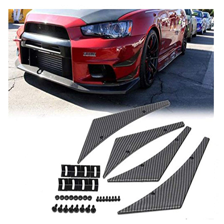 4pcs Universal Car Bumper Side Fins Canard Splitter Diffuser Valence Spoiler Lip