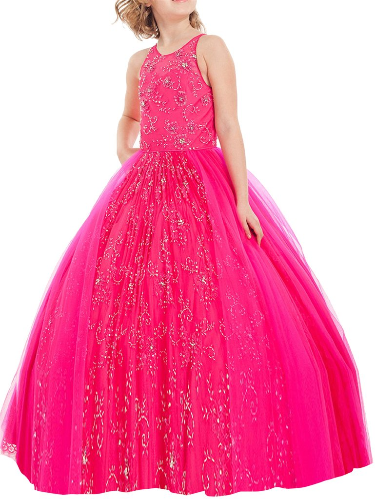 MCandy Princess Girls Beaded Wedding Party Gowns Tulle Pageant Dresses 14 US Fuchsia