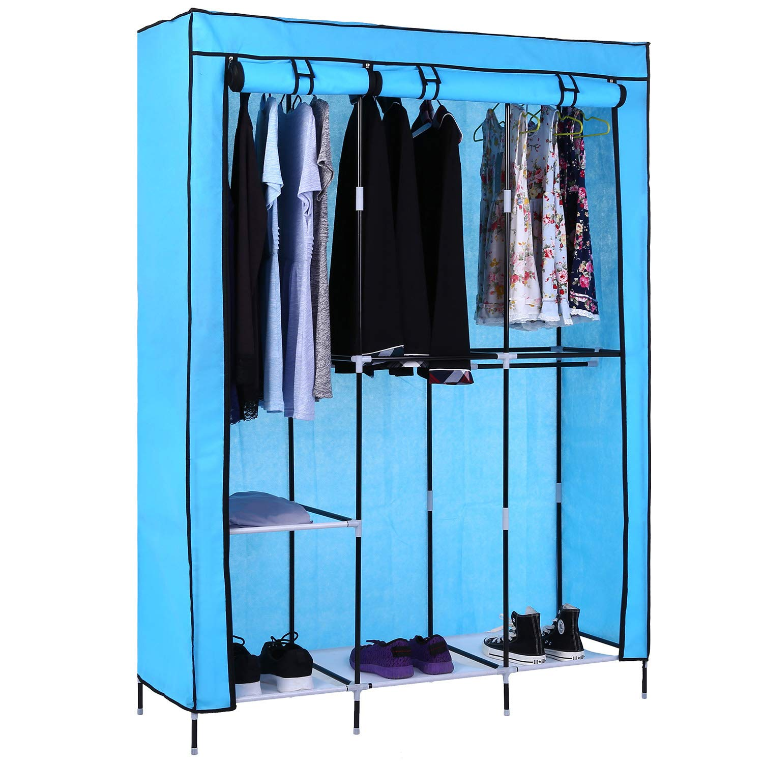 Miageek Portable Wardrobe Clothes Storage Organizer with Hanging Rack Non-Woven Thickening Dust Closet[US Stock]