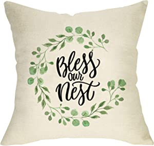 FBCOO Bless Our Nest Throw Pillow Cover Farmhouse Quotes Decorative Cushion Case Green Olive Branch Spring Summer Home Decorations Square Pillowcase Decor for Sofa Couch 18 x 18 Inch Cotton Linen