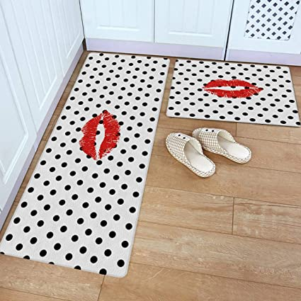 Aomike Kitchen Rug And Mats Black And White Dots And Lip Kitchen Floor Mats 2 Piece Pvc Leather Standing Mats Non Slip Rubber Back Washable Doormat Bathroom Area Rug Carpet 18 X30 18 X59