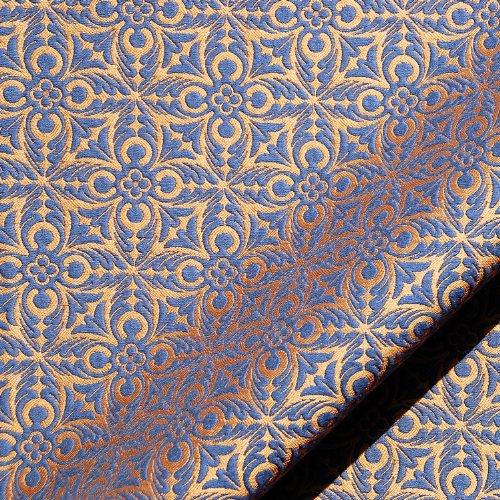 Matelasse Upholstery Fabric (Joseph Noble Navy Blue Gold French Quatrefoil Pattern Matelasse Upholstery Fabric by the yard)