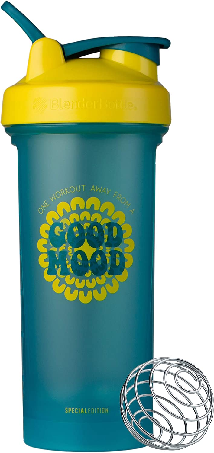BlenderBottle Motivational Quote Classic V2 Shaker Bottle, 28oz, One Workout Away From a Good Mood