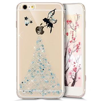 f0e52ae0390 Funda iPhone 5S, Carcasa iPhone 5, JAWSEU Apple iPhone 5/5S/SE Estuche Carcasa  Caso Purpurina llamativa ...