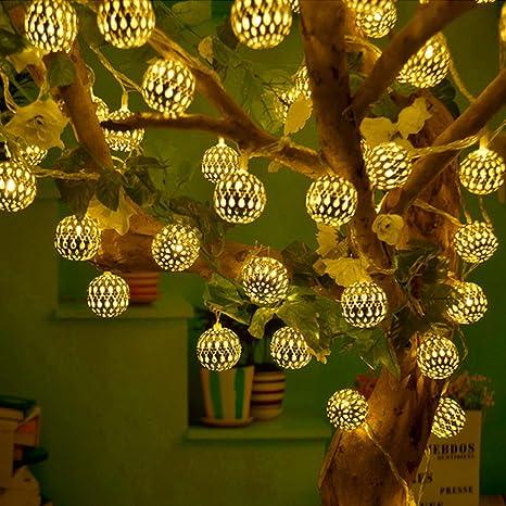 RaajaOutlets LED Hanging Lantern String Ball Lights (Warm White)