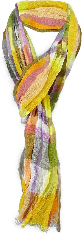 180 x 50 cm TigerTie gecrashter Schal in gelb orange weiss grau lachs braun gr/ün kariert//gestreift gemustert mit sehr kleinen Fransen
