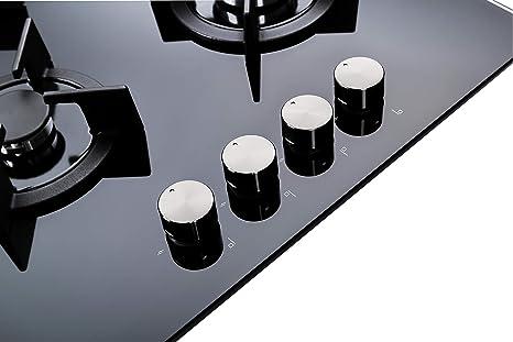 Millar GH6041XEB Plaque de cuisson en Verre tremp/é avec 4 br/ûleurs /à gaz Noir 60 cm//Table de Cuisson