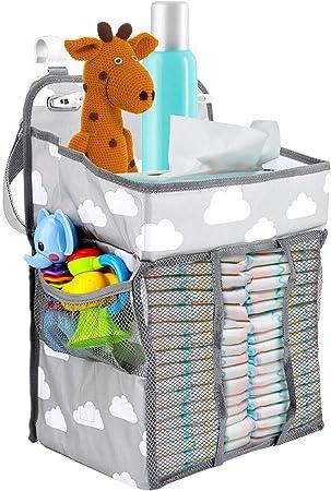 Zwini Baby Nursery Organizer Colgante portátil Pañal Pañal Caddy Organizador Muitifuctional Pañal Pañal Juguetes Bolsa de almacenamiento para cambiador, cuna, corralito, cochecito de bebé o pared