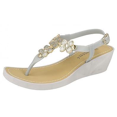 605ca7b364665 Ladies Savannah Wedge Toe Post Sandals F10432  Amazon.co.uk  Shoes   Bags