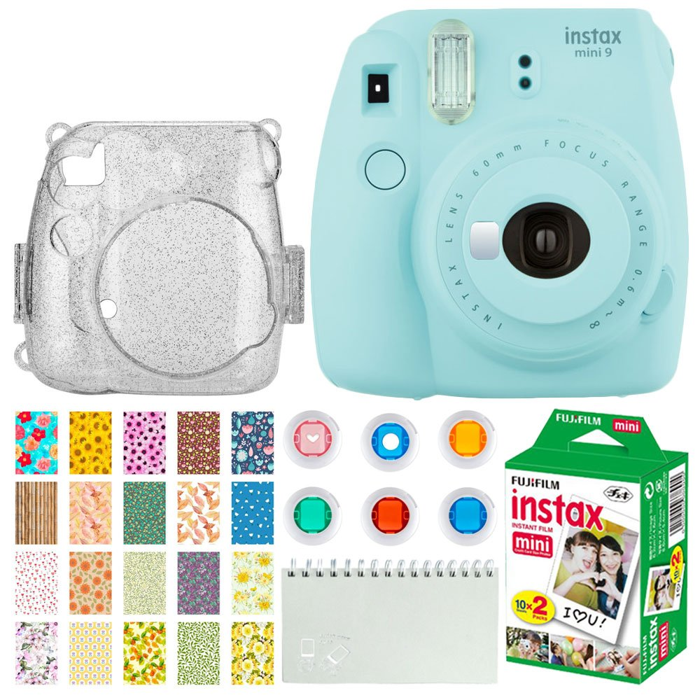Fujifilm Instax Mini 9 Instant Camera (Ice Blue) Instax Mini Twin Pack Instant Film (20 Exposures) + Glitter Hard Case + Colored Filters + Album + Sticker Frames Nature Package by Fujifilm