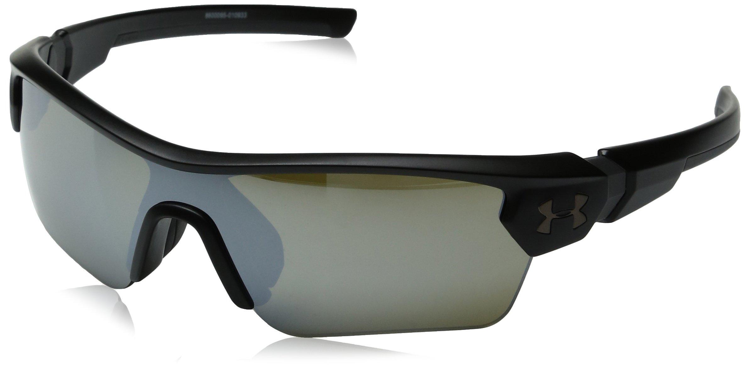 Under Armour Kids' Ua Menace Wrap Sunglasses, Black/Chrome, 58 mm