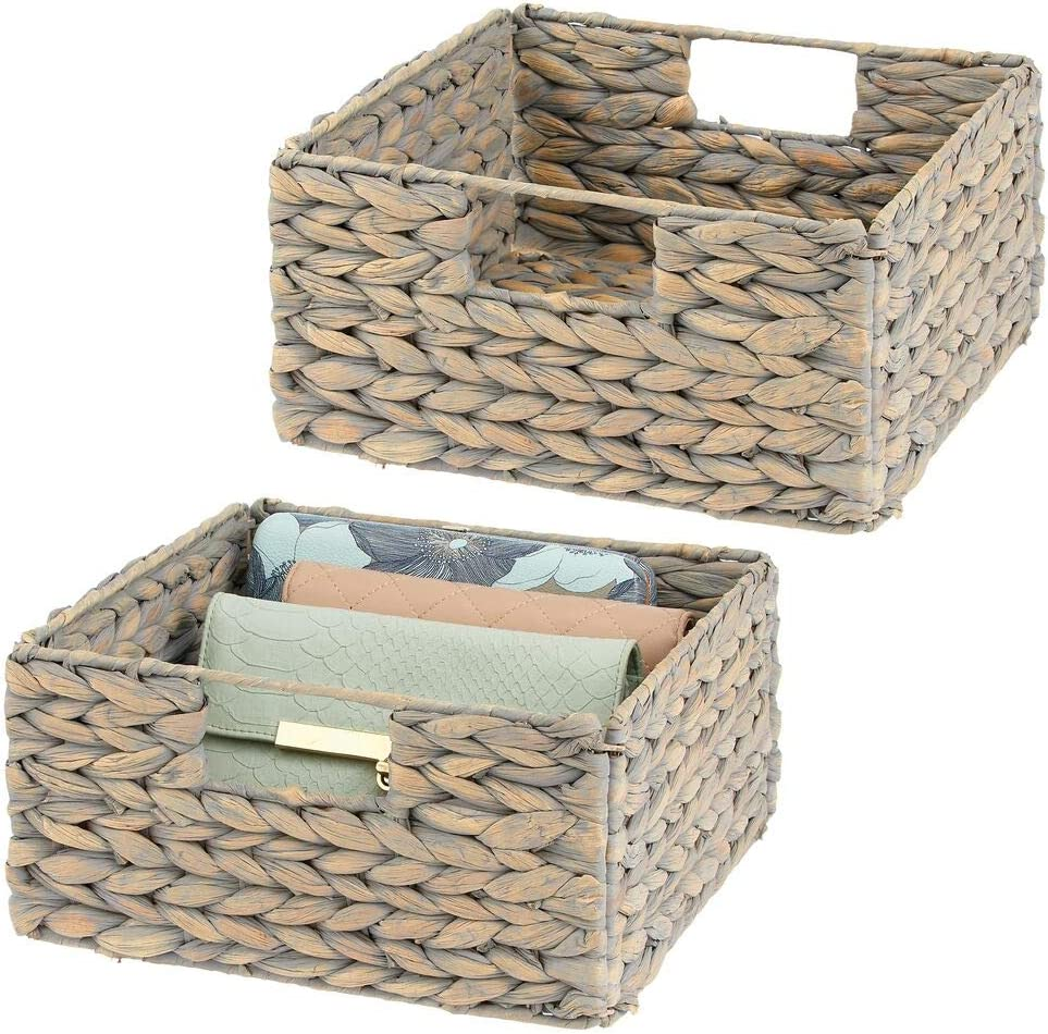mDesign Woven Hyacinth Closet Storage Organizer Basket Bin - Collapsible - for Cube Furniture Shelving in Closet, Bedroom, Bathroom, Entryway, Office - 2 Pack - Gray
