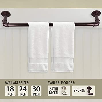 Rod Desyne Industrial Pipe Design Towel Bar 30 inch Bronze