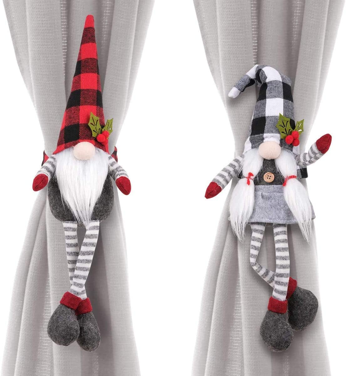 D-FantiX Christmas Curtain Tieback Buckle Set of 2, Mr and Mrs Gnome Curtain Tiebacks Holder Fastener Buckle Window Christmas Ornaments Decorations Home Décor