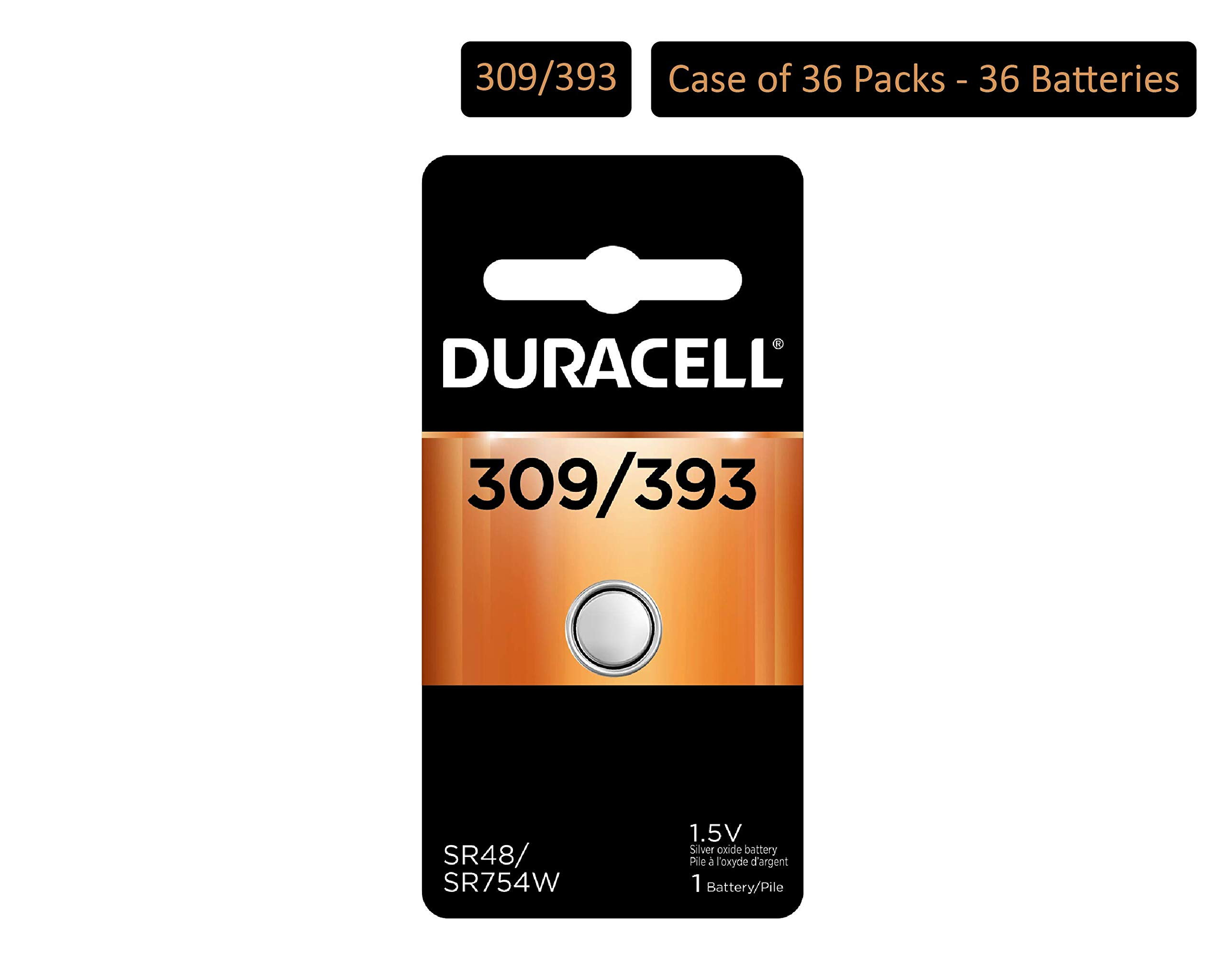 Duracell - 309/393 1.5V Silver Oxide Button Battery - long-lasting battery (Pack of 36)