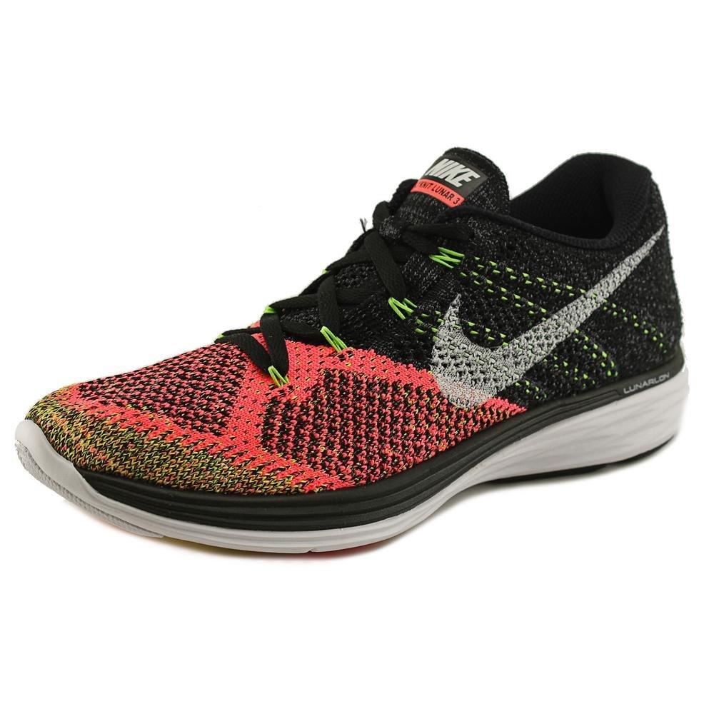 NIKE Women's Flyknit Lunar3 Running/Training Shoes B0059G9ZDI 12 D(M) US|Black/White-hot Lava-volt