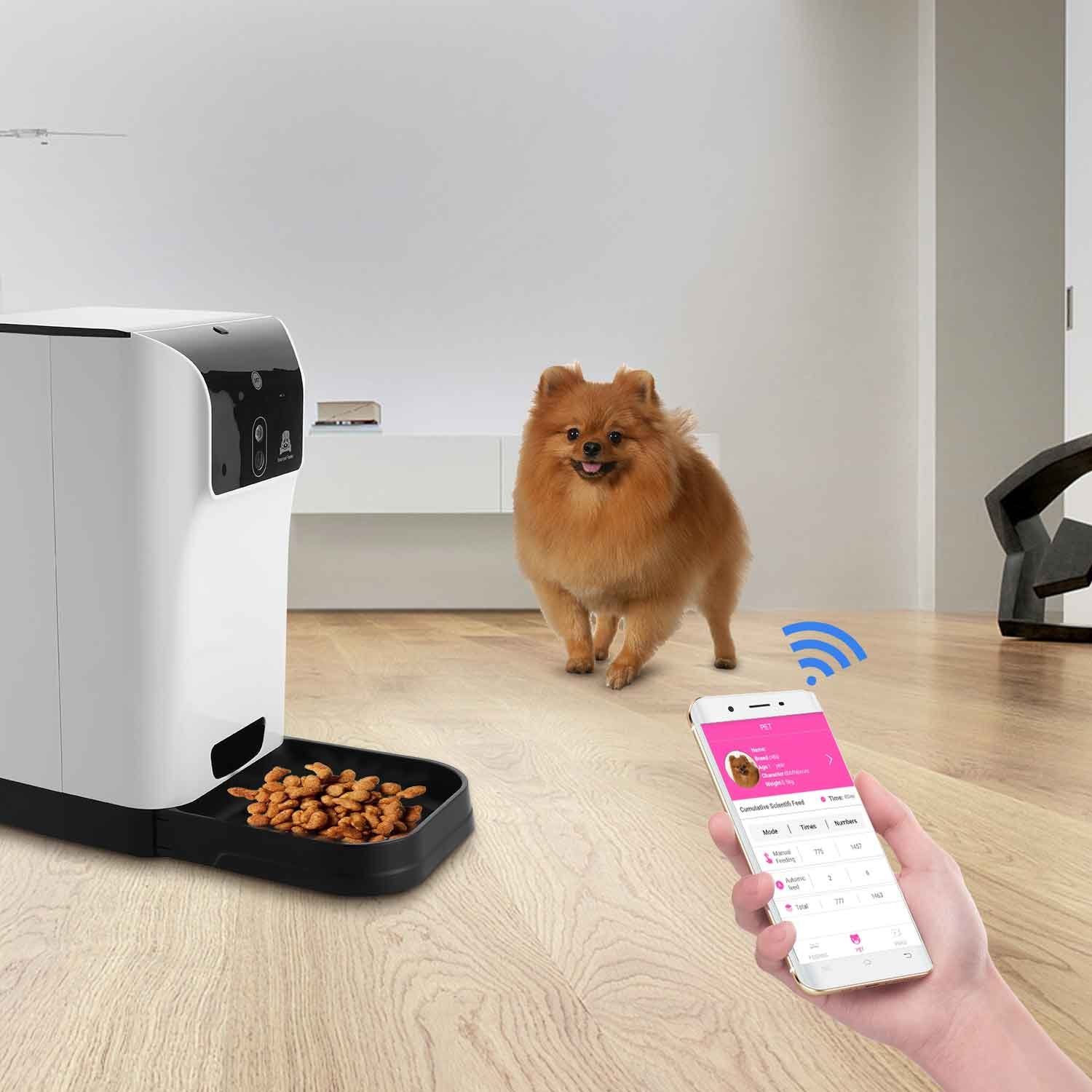 Flagup Smart Automatic Pet Feeder with Voice Recorder, Timer Programmable & HD Wifi Camera, Controlled by IPhone, Android or Other Smart Devices