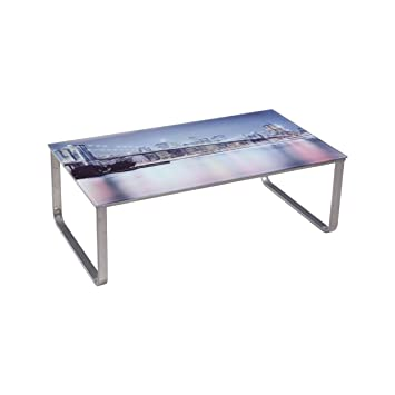 US Pride Furniture Picture 8 Scenery Pattern Glass Top Metal Legs Coffee  Table