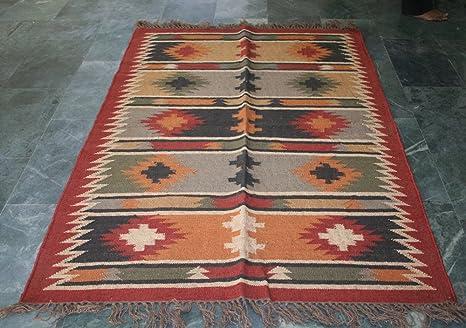 Tappeti Kilim Marocco : Silkroude annodato a mano lana tribale kilim tappeto piatto durrie