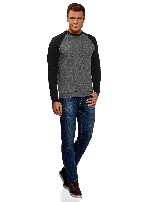 oodji Ultra Herren Baumwoll-Sweatshirt mit Kontrast-/Ärmeln
