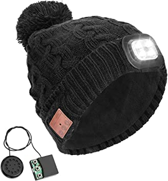 LED Wireless bluetooth Stereo Headset Hat Knitted Beanie Battery Cap Lamp Light