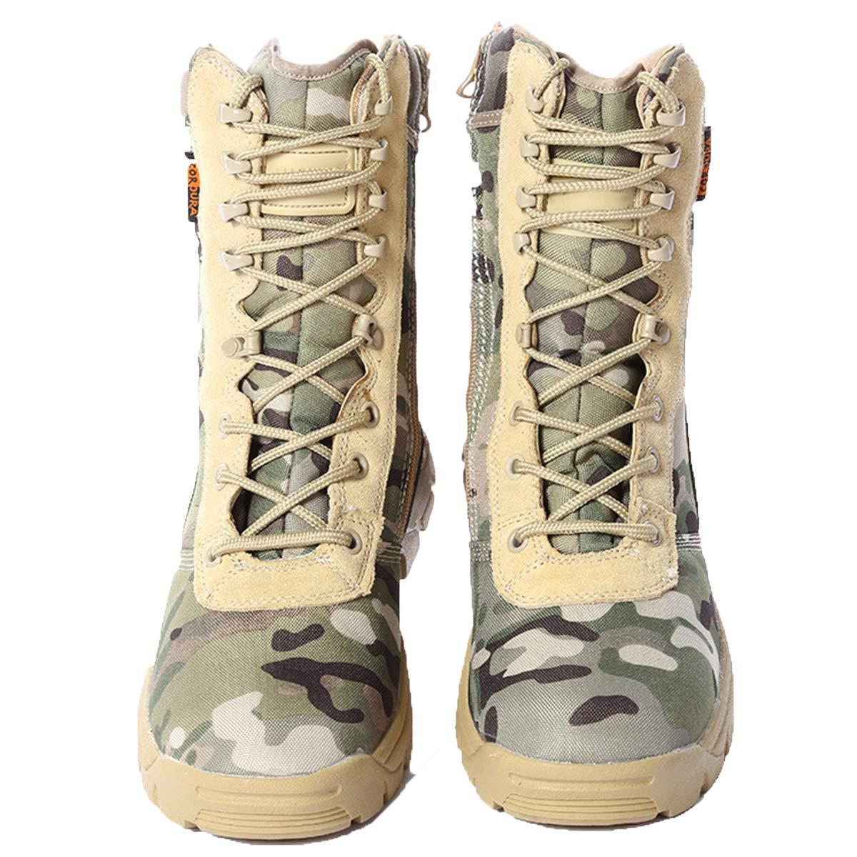 Stivali In Pelle Scamosciata Color Cuoio Leggeri Da Combattimento Militare E Deserto G-161 Uomo Delta Zip Laterale Militare Lavoro Esercito Scarpe Tattici Caviglia Boots Uniforme,Camouflage-EU41