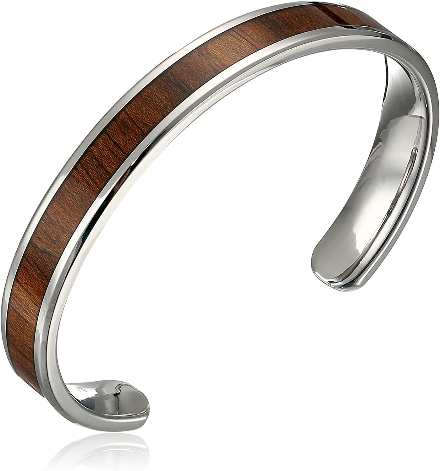 Stainless Steel Wood Cuff Bangle