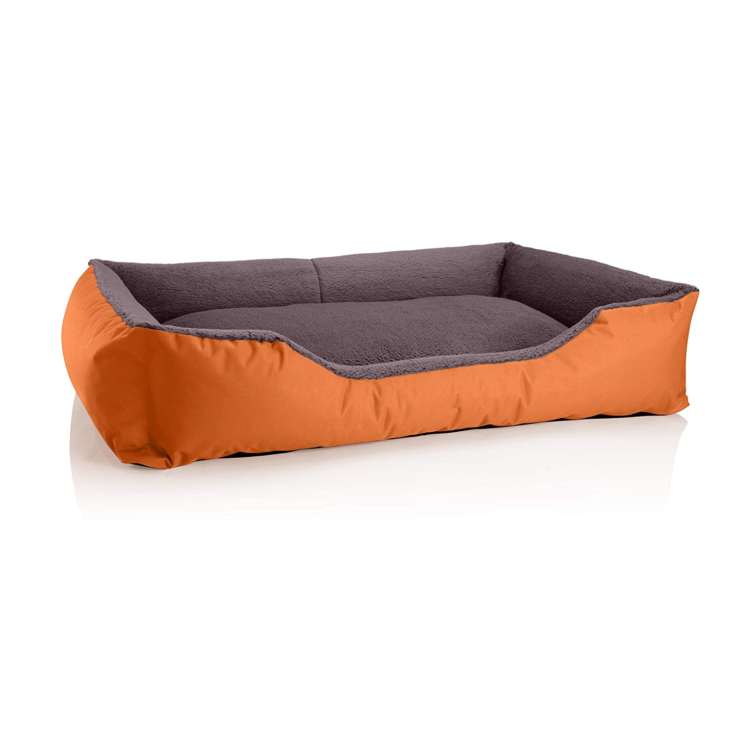 RUSSETBROWN (orange brown) XXXL (ca. 150x110cm)BedDog dog cat sofa TEDDY S to XXXL, 14 colours to choose, made from Cordura & Microfiber Velor, washable dog bed, dog cushion, indoor & outdoor use, size XXXL, grey grey