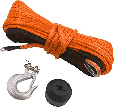 TYT 50ft Synthetic Winch Rope for 3/16