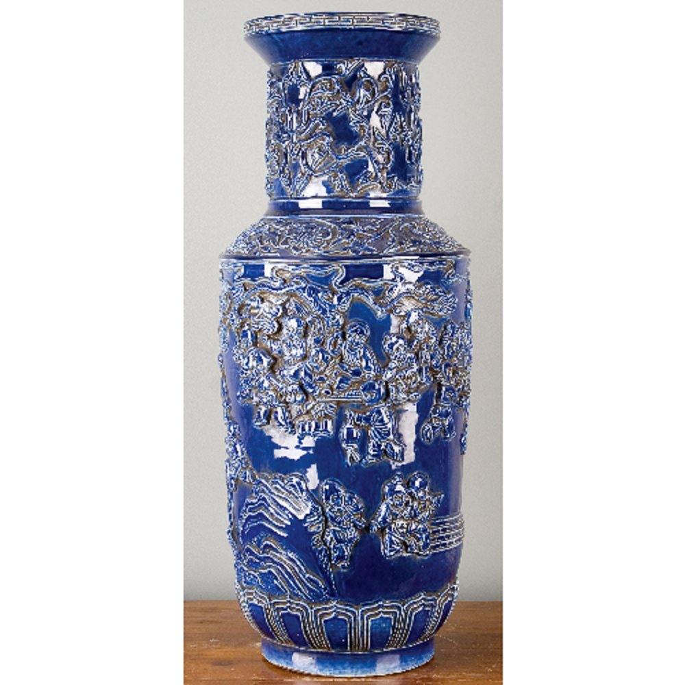 Home decor. Blue Porcelain Carved Vase. Dimension: 11 x 11 x 27. Pattern: Color Classic.
