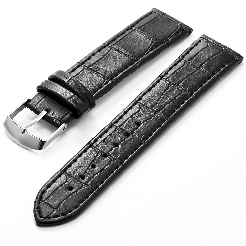 KS 20mm Black Leather Men's Replacement Watch Band Straps WB2042