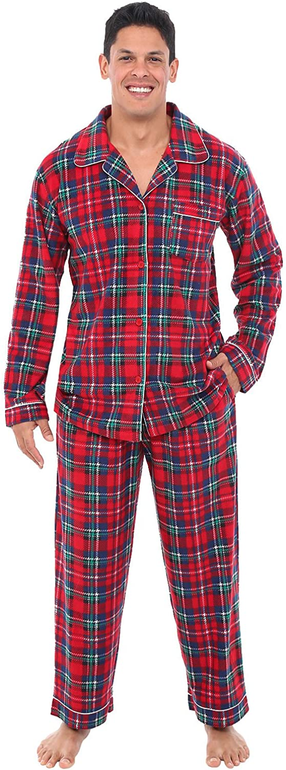 Alexander Del Rossa Men's Warm Fleece Pajama Set, Long Button Down Pjs