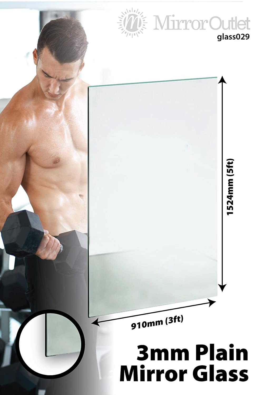 mirror 6ft x 4ft. large new mirror glass sheet 3mm thick 5ft x 3ft 152cm 91cm solid glass: amazon.co.uk: kitchen \u0026 home 6ft 4ft s