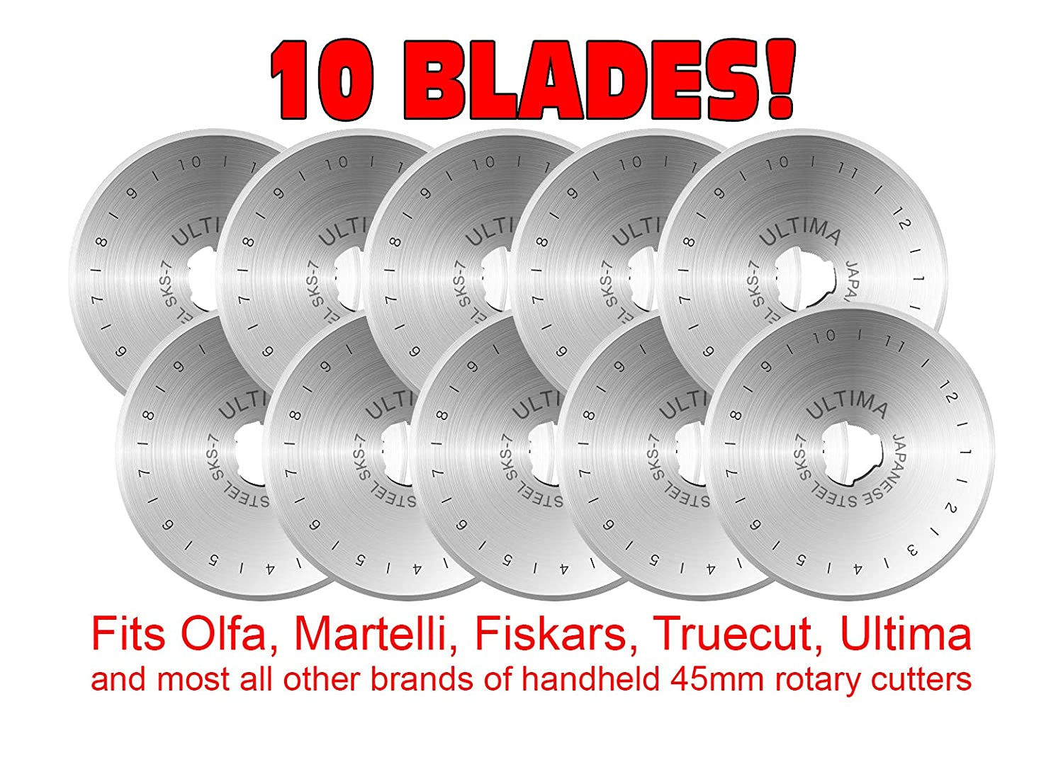 Ultima 45mm Rotary Cutter Blades - 10 Pack - Fits All Rotary Cutters Including Fiskars, Olfa, Martelli and TrueCut - Cuts Quilting Fabric, Leather, and More