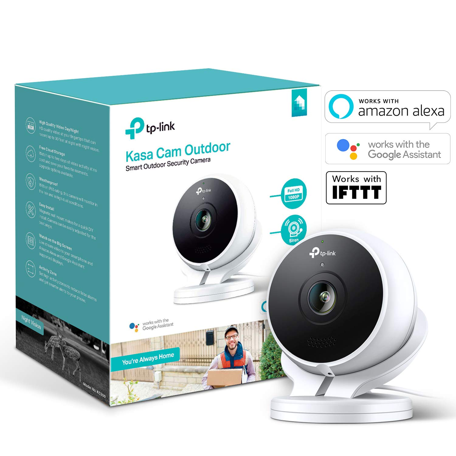 TP-Link Smart Outdoor Security Camera, Weatherproof, No Hub Required, Works  with Alexa(Echo Spot/Show and Fire TV), Google Home Hub and IFTTT, 1080p,