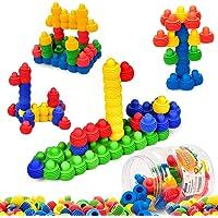MECY STEM 60-Piece Educational Interlocking Soft Plastic Building Blocks Sets with Storage Tub