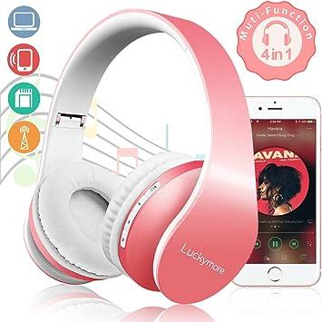 Auriculares,Auriculares Bluetooth Auriculares Inalámbricos Auriculares con Micrófono Cerrados Stereo con Función 4 en 1 Para Mujer Niña Compatible con IOS / Android Rosa (Rosa): Amazon.es: Electrónica