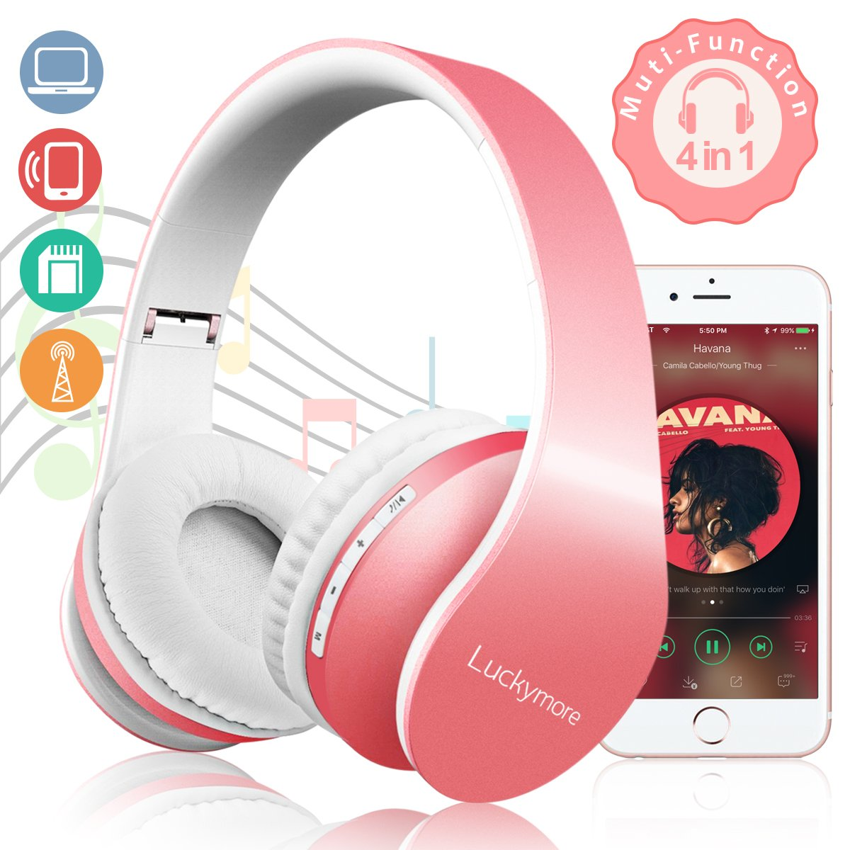 Bluetooth Headphones Hi-Fi Stereo Wireless Headset Over Ear Headphones Noise Cancelling Foldable Earphones, Soft Memory-Protein Earmuffs, Built-in Mic for PC/Cell Phones/TV Bluetooth Device for Women