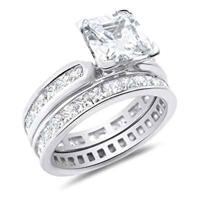 461c7579e Princess Cut White CZ Wedding Band Engagement Ring Set in 925 Sterling  Silver 5