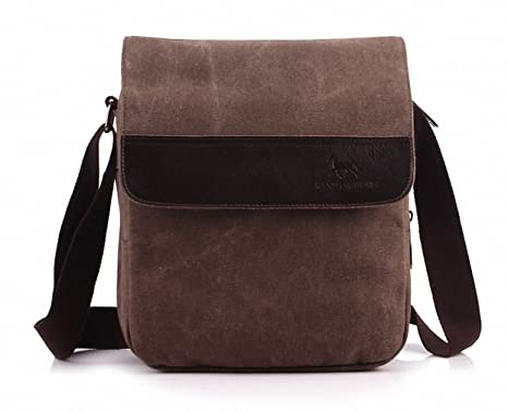 c13adb76fe1 Image Unavailable. Image not available for. Color: MANJH Retro Canvas Shoulder  Messenger Men Casual Small Bag Coffee